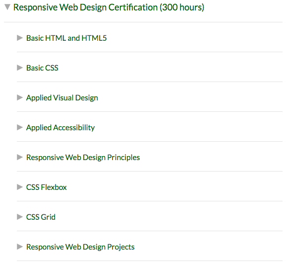 Certifications on Free Code Camp are broken down into units