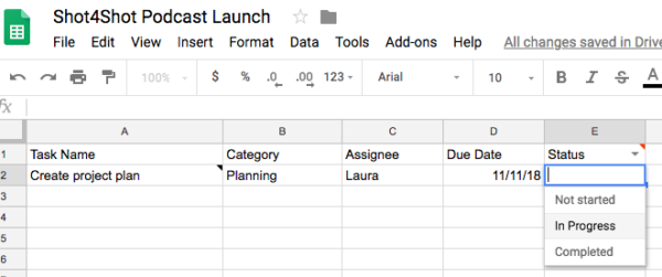 Sample project in Google Sheets