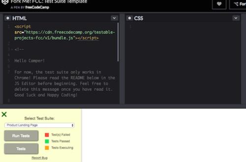 Codepen testing environment
