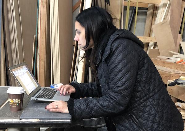 Laura at computer
