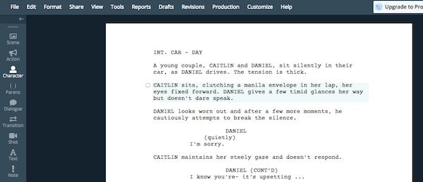 Script in WriterDuet tool
