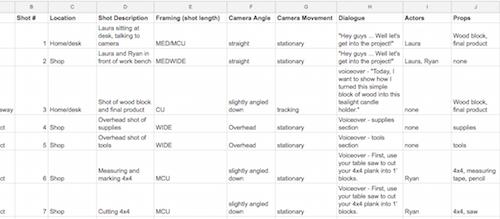 Shot List spreadsheet